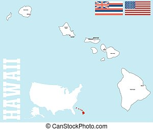 Hawaii county map - A large and detailed map of the State of...