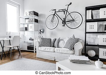 Black and white apartment - Modern black and white one room...
