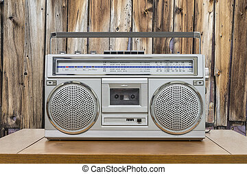 Vintage Boombox on Table with Rustic Cabin Wall - Vintage...