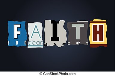 Faith word on broken car license plates, vector