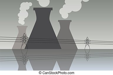 Nuclear power plant cooling tower, industrial landscape