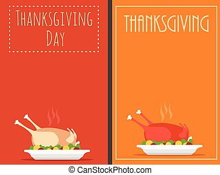 Thanksgiving Day backgrounds with turkey, vector