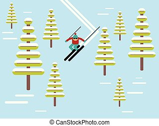 Skier slides from the mountain vector illustration