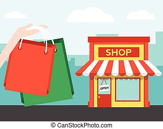Shopping in the city with bag and front of shop