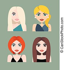 Set of business woman faces vector illustration - Set of...