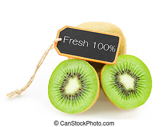 Slice of fresh kiwi fruit and Fresh 100 wooden tag - Slice...