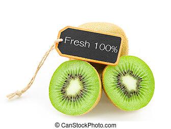 Slice of fresh kiwi fruit and Fresh 100% wooden tag. - Slice...