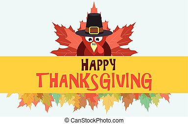 Happy thanksgiving turkey with leaves, vector card