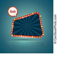 梯形, retro, 銷售, banner., ,