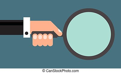 Businessman with magnifying glass, flat design vector