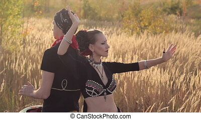 Beautiful girl dancing exotic dance with drummer - Wonderful...