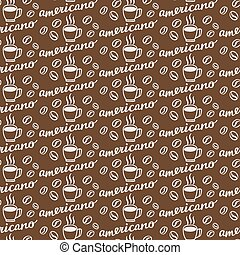 Americano. Seamless pattern with hand-drawn calligraphy with...