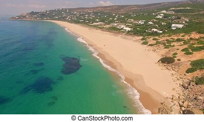 Aerial View from Flying Drone Over Beach and Sea on Spanish...