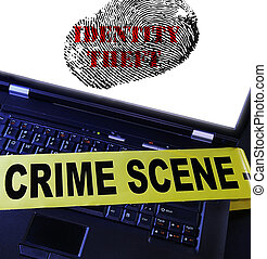 Identity Theft Fingerprint - laptop computer with Identity...