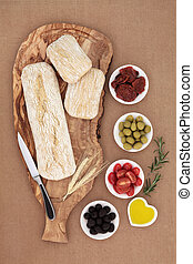 Picnic Food - Picnic food and antipasti with olives,...