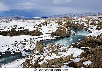 Waterfall Godafoss, Iceland - Waterfall Godafoss in Iceland,...