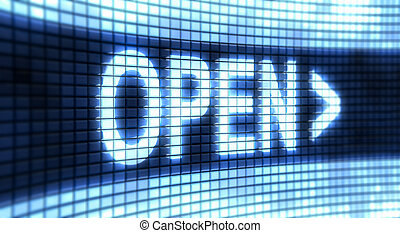 """Panel Open - The word """"Open"""" on the screen"""