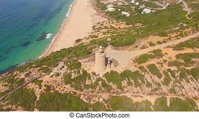 Marvelous Aerial View from a Drone Flying Over Spanish Beach...