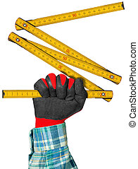 Gloved Hand with Wooden Folding Ruler