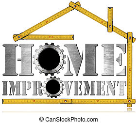 Home Improvement Symbol with Gears - Symbol with text Home...