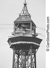 Ropeway - Old ropeway of Barcelona, vintage color edition
