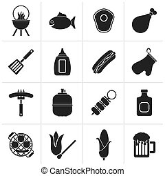 Grilling and barbecue icons - Black Grilling and barbecue...