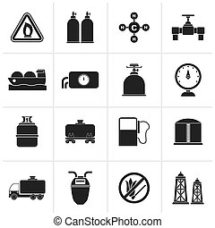 Natural gas objects and icons - Black Natural gas objects...