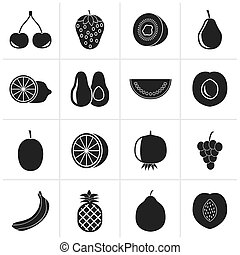 Different kind of fruit icons - Black Different kind of...