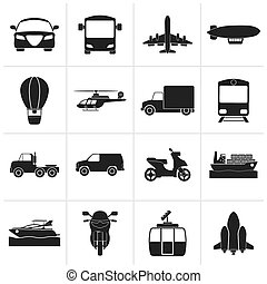 Transportation and travel icons - Black Transportation and...