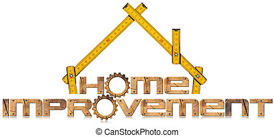 Home Improvement Symbol with Wooden Gears - Wooden symbol...