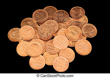 Gold coins - lots of Gold coins isolated over black...