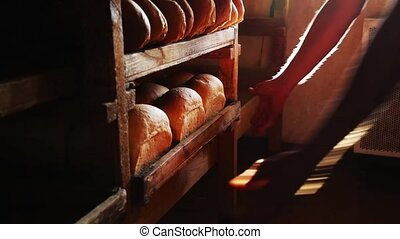 a tray of bread - Productions of bread full HD