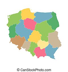 colorful vector map of Poland