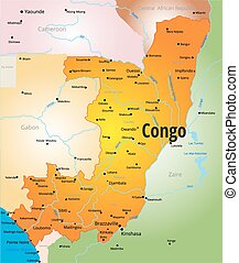 Congo map - vector color map of Congo country