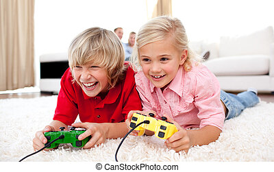Adorable Children playing video games - Adorable children...