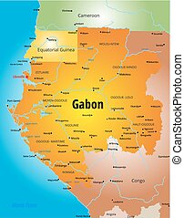 Gabon map - Vector color map of Gabon country