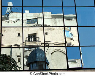 Bucharest in mirror, Romania, Eastern Europe