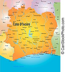 Cote d Ivoire map - Vector color map of Cote d Ivoire...