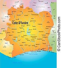 Cote d Ivoire map - Vector color map of Cote d Ivoire...