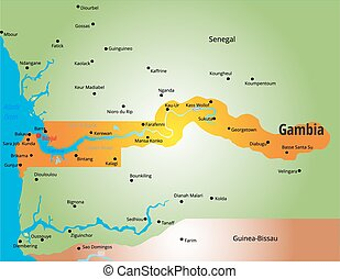 Gambia - Vector color map of Gambia country