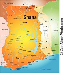 Ghana  - Vector color map of Ghana country
