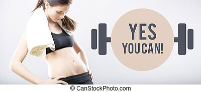 Yes you can, woman looking at flat belly - Yes you can, slim...