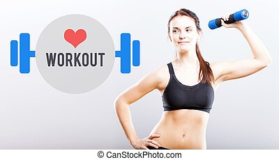 Workout slim woman with dumbbell