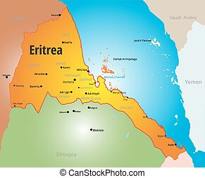 Eritrea - Vector color map of Eritrea country