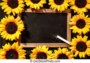 Colorful frame of yellow sunflowers around a blank vintage...