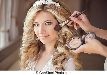 make up rouge. Healthy hair. beautiful smiling bride wedding...