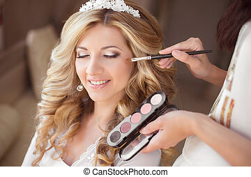 Beautiful smiling bride wedding portrait with makeup and...