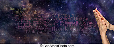 A Prayer of Thanks to the Universe - Female hands in prayer...
