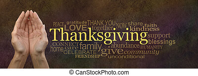 Thanksgiving Word Cloud Website Ban - Female cupped hands...