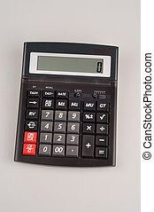 pocket calculator on a white background ready to be used